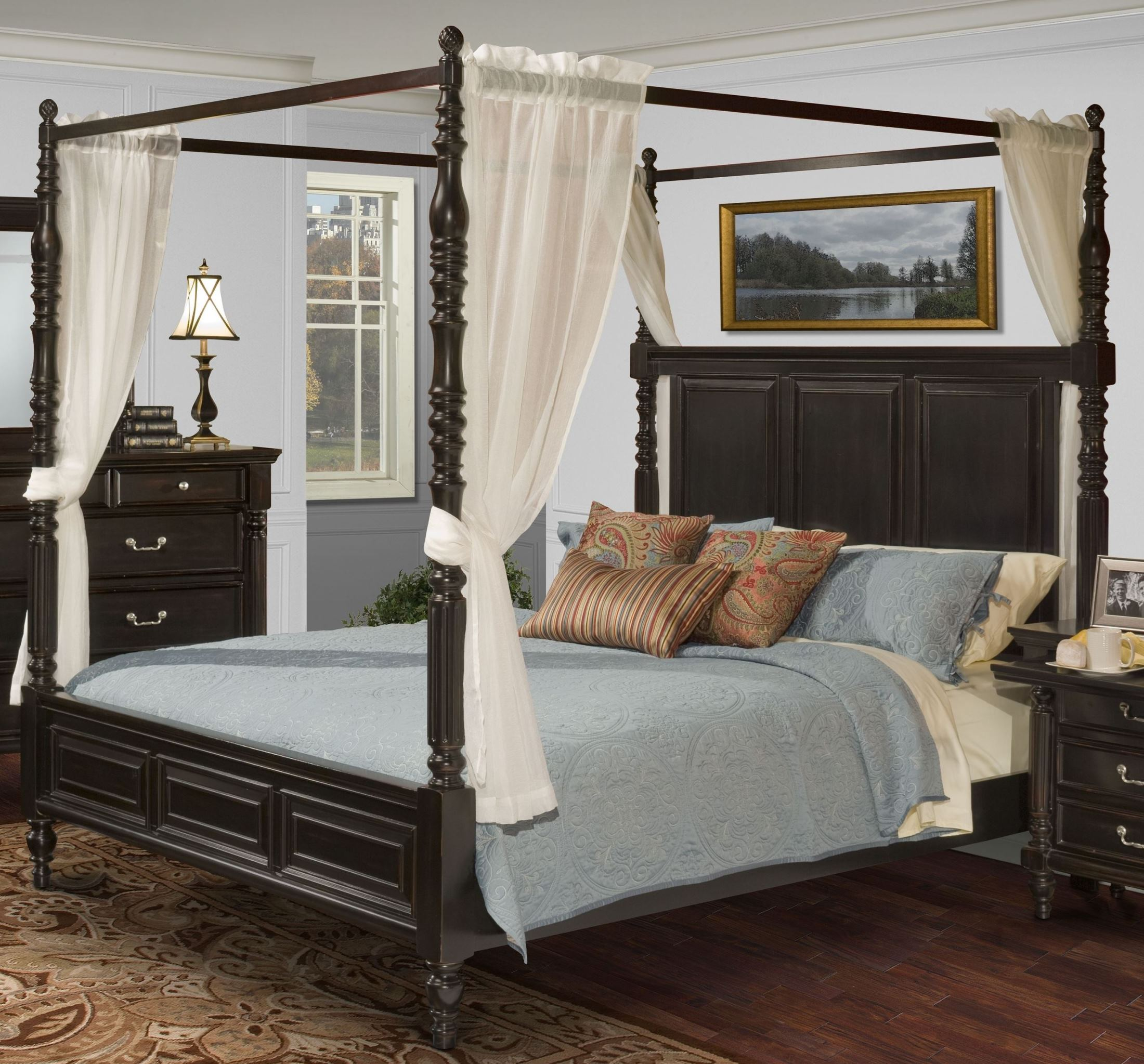 - Martinique Rubbed Black Queen Canopy Bed With Drapes - 1StopBedrooms.