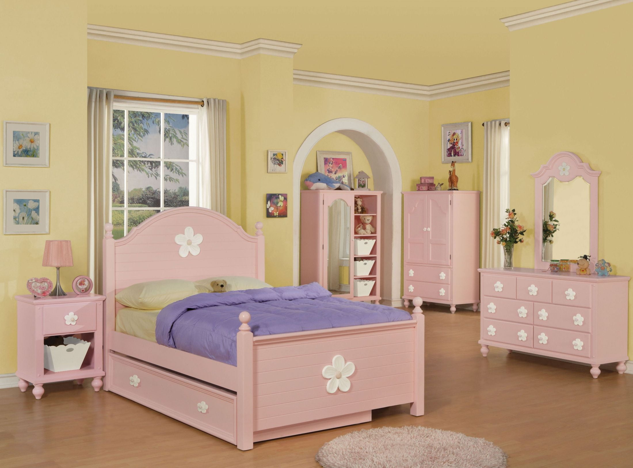 Floresville Pink White Flower Youth Poster Bedroom Set