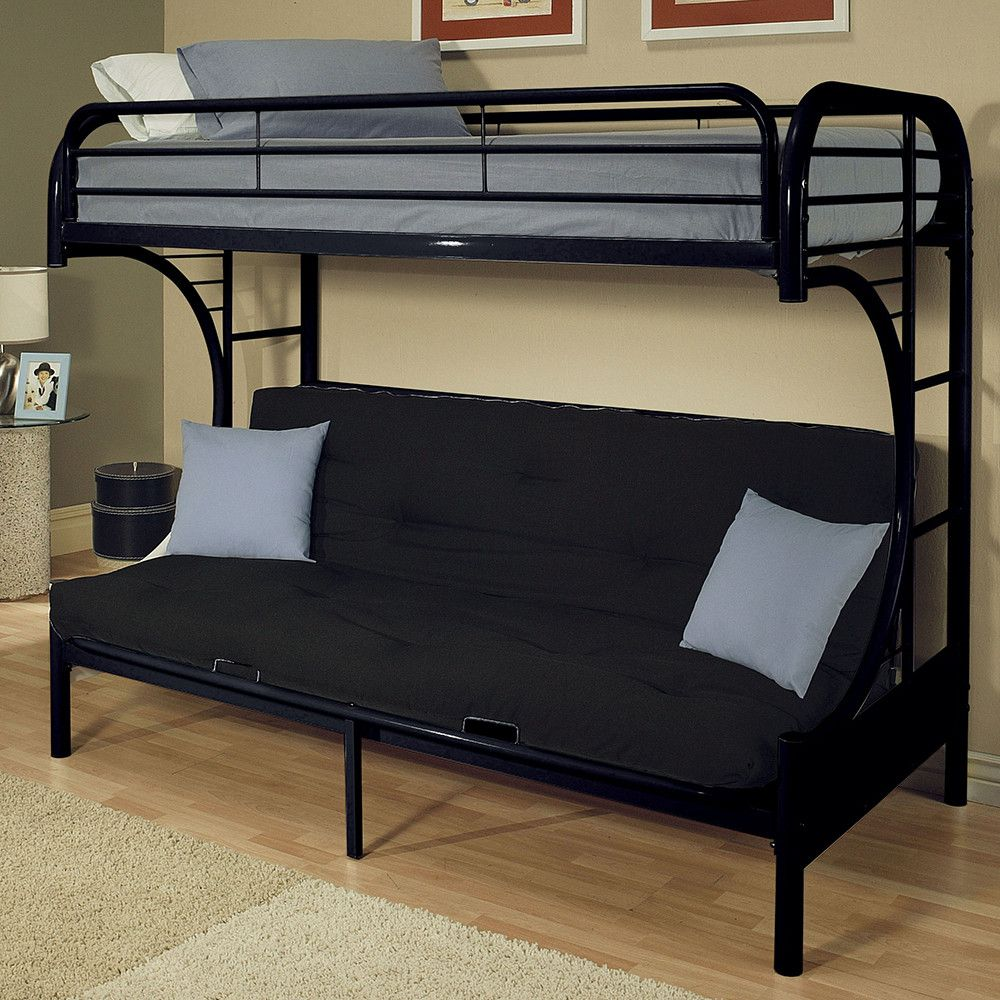 Eclipse White And Black Twin Over Full Futon Bunk Bed
