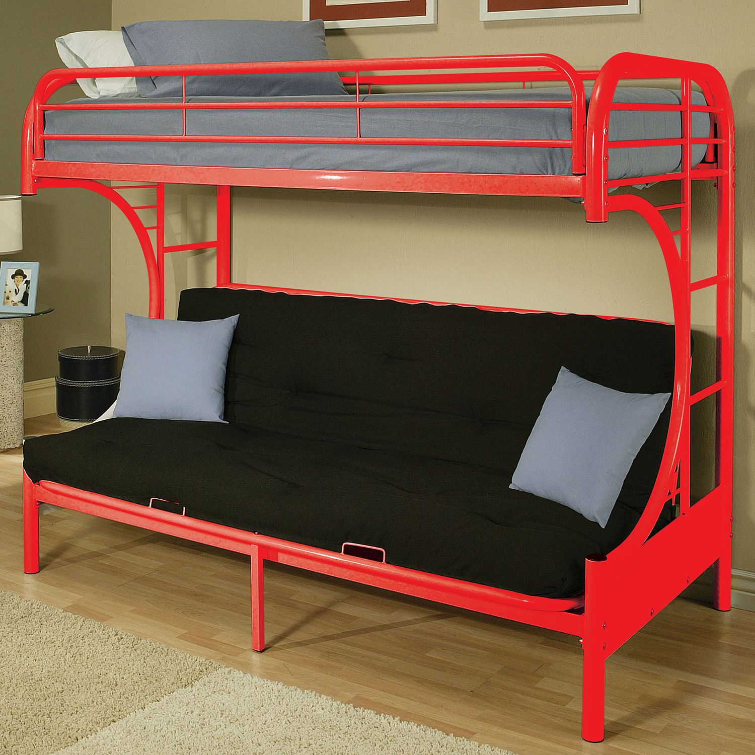 Acme Eclipse White And Red Twin Over Full Futon Bunk Bed