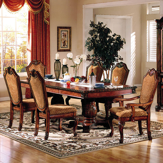 Formal Dining Room Sets For 10: ACME Chateau De Ville Dining Room Set W/ Fabric Chairs