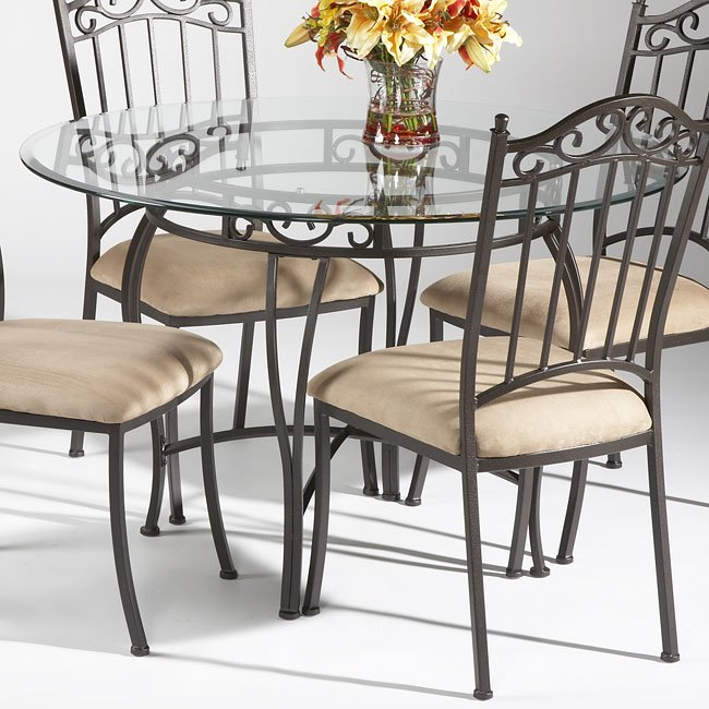 Wrought Iron Round Gl Dining Table