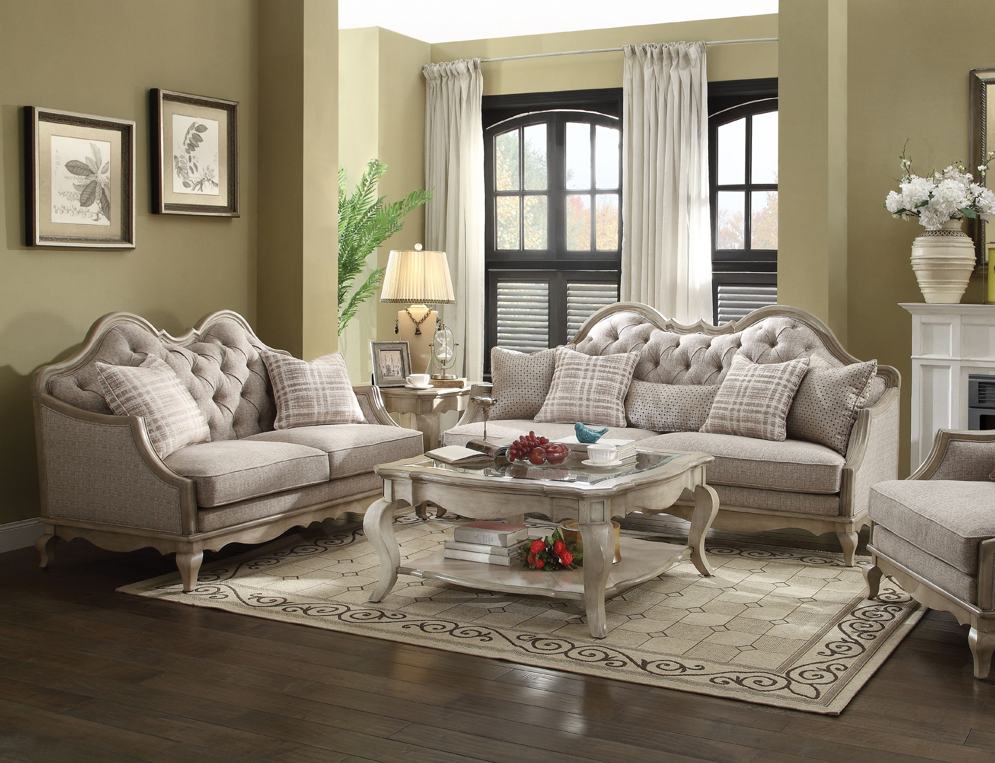 Acme chelmsford 2 piece fabric living room set in beigemedia image