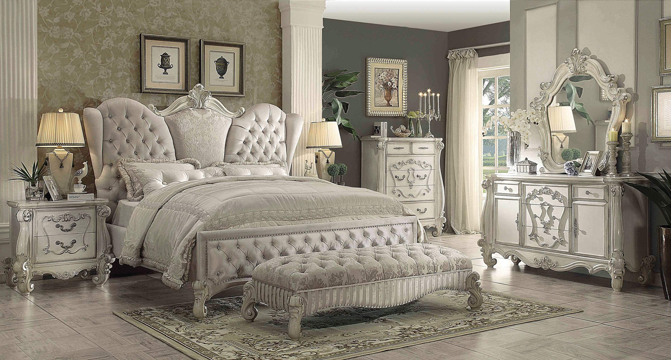Acme Versailles Upholstered Bedroom Set in Ivory Velvet/Bone White