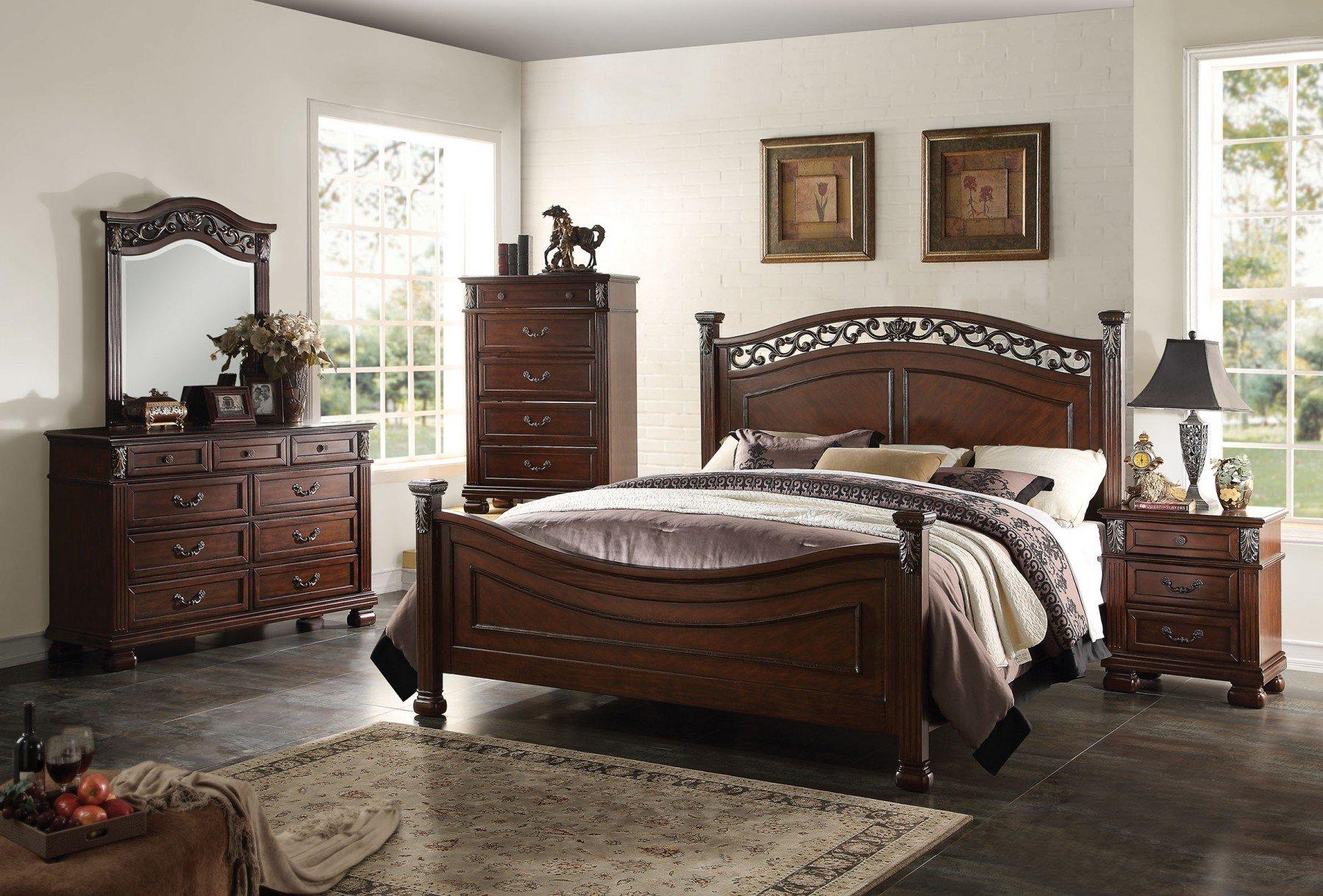 Acme Manfred Panel Bedroom Set in Dark Walnut