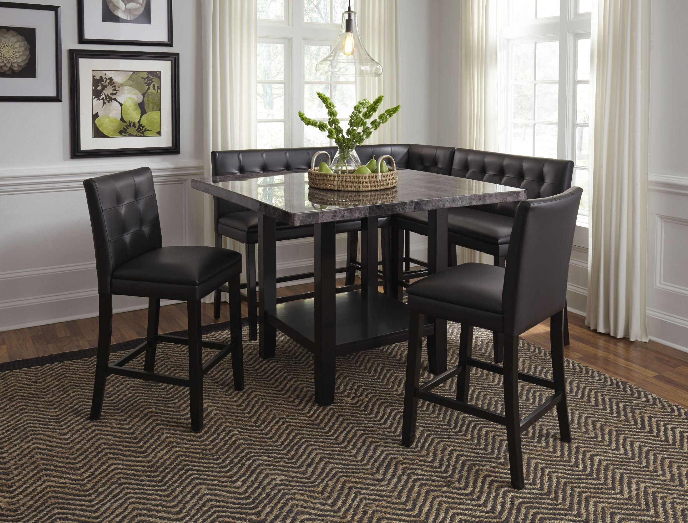 Caspian Black Faux Marble Counter Height Dining Room Set