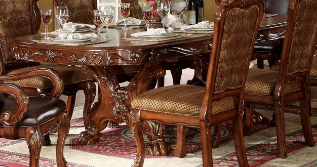 Acme Dresden Pedestal Dining Table In Brown Cherry Oak 12150 Clearance