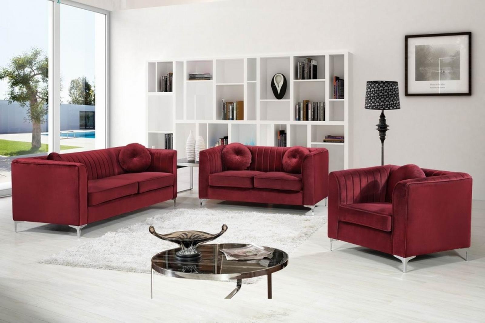 Meridian Isabelle 2 Piece Living Room Set In Burgundy 1stopbedrooms
