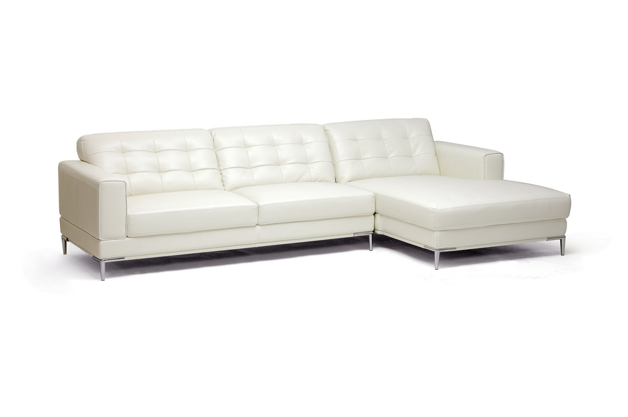 Baxton Studio Babbitt Ivory Leather Modern Sectional Sofa 1365-8143