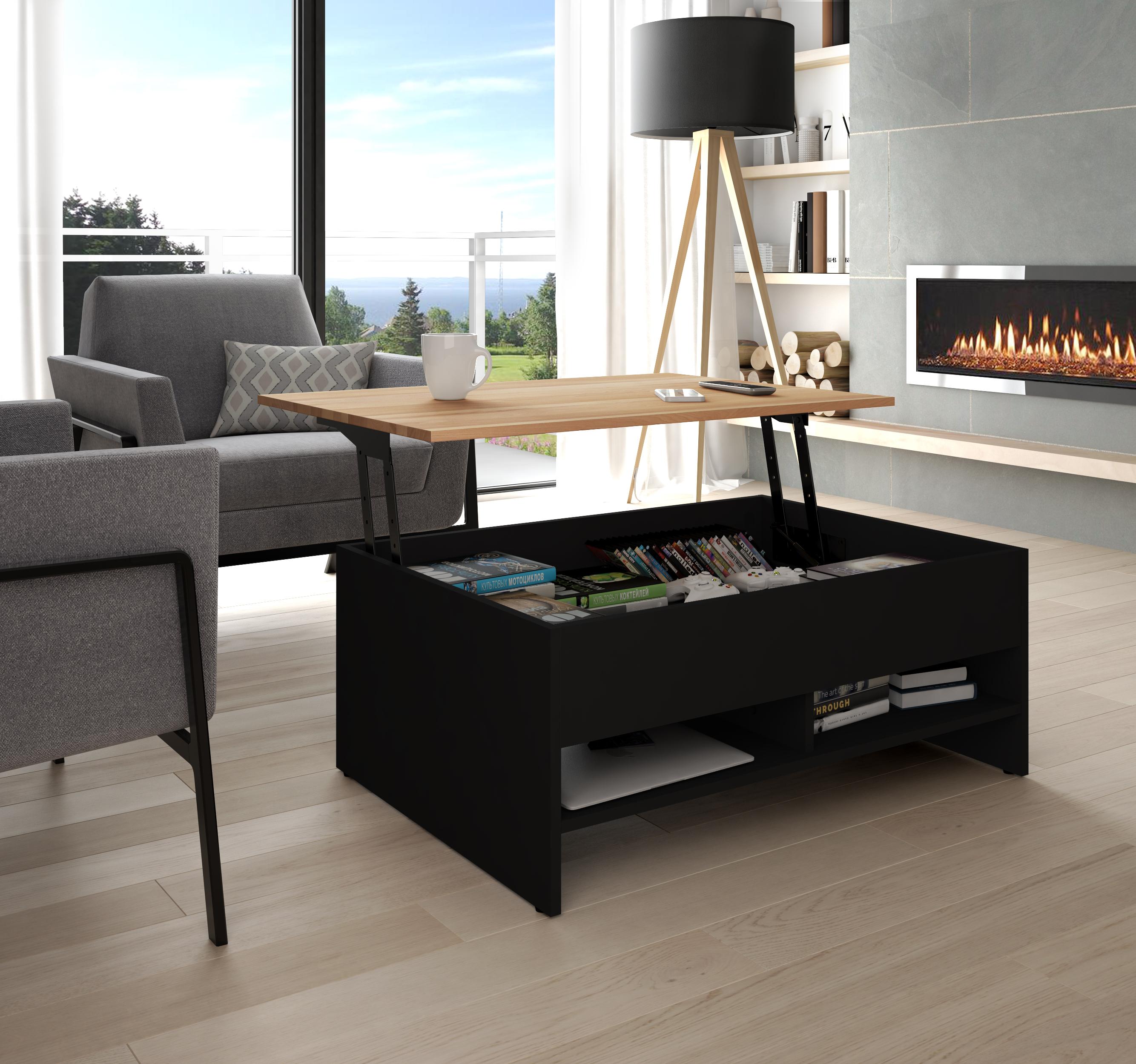"Black Solid Wood Coffee Table: Bestar Bestar Small Space 37"" Lift-Top Storage Coffee"