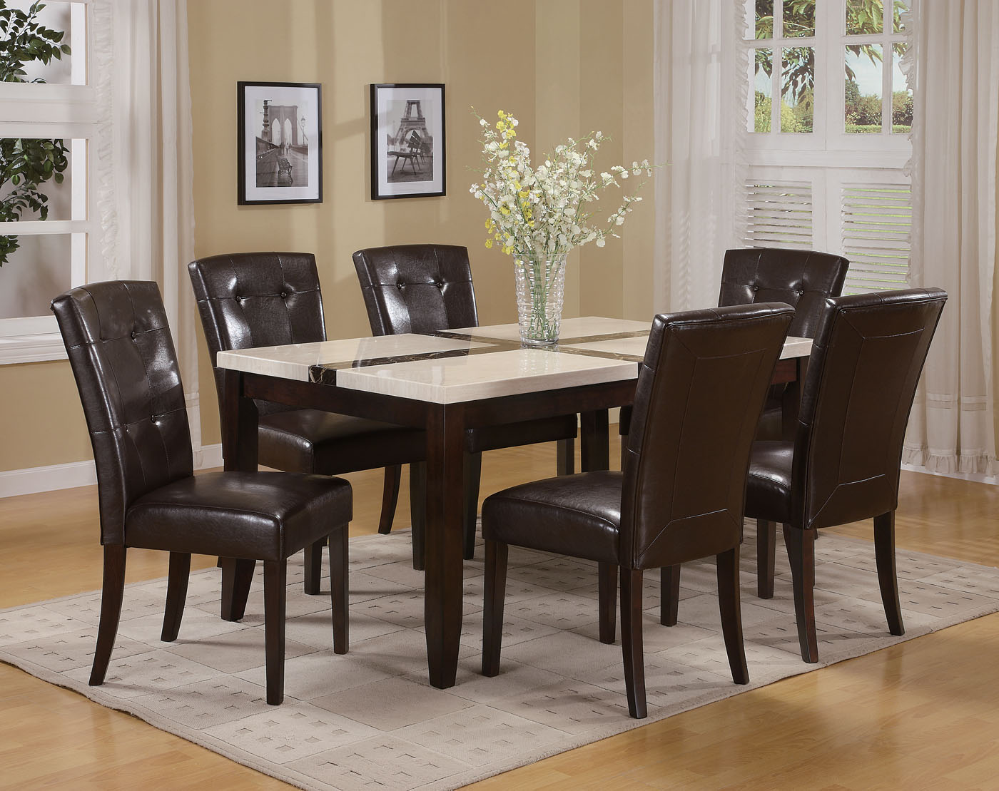Acme Acme Justin White Faux Marble Top Dining Table Set In