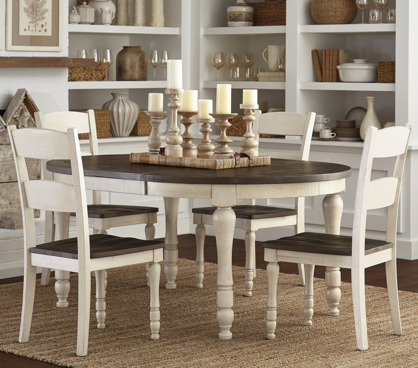 Madison County Vintage White Extendable Round Dining Room Set 1stopbedrooms