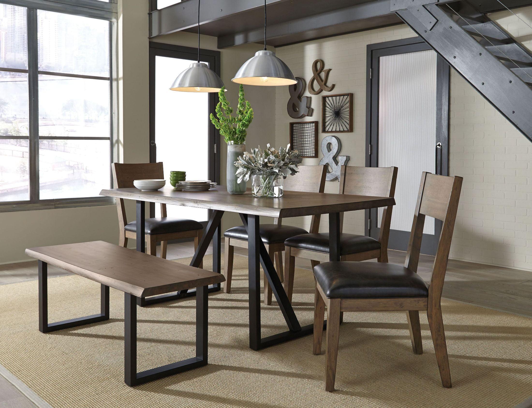 Distressed White Oak Dining Chairs: Standard Furniture Sierra Distressed Oil Oak Rectangular