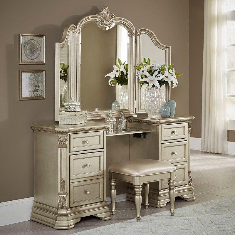 Antoinetta Vanity Dresser W Mirror Champagne 1stopbedrooms