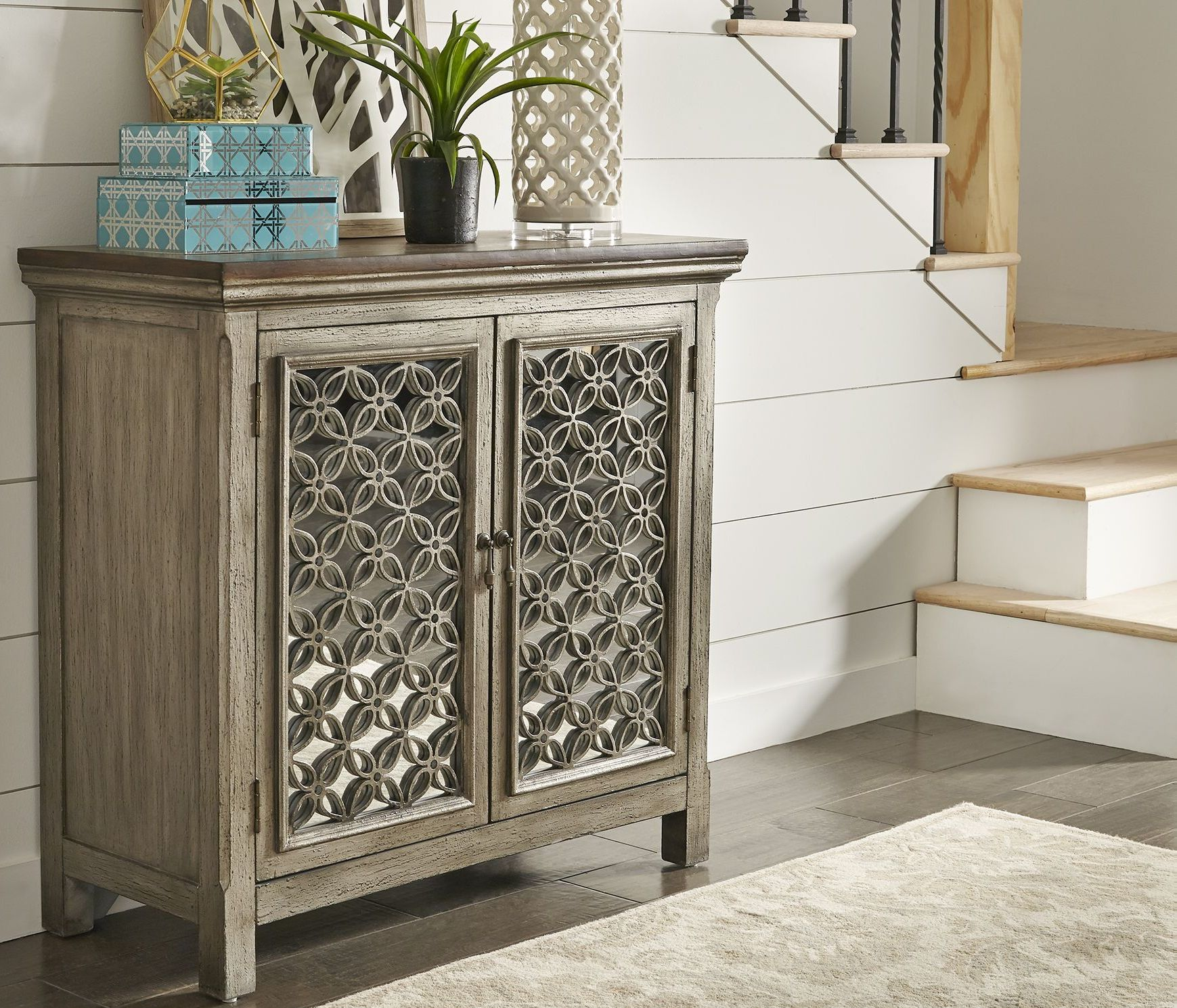 Eclectic Living White And Brushed Gray 2 Door Accent Cabinet 1stopbedrooms