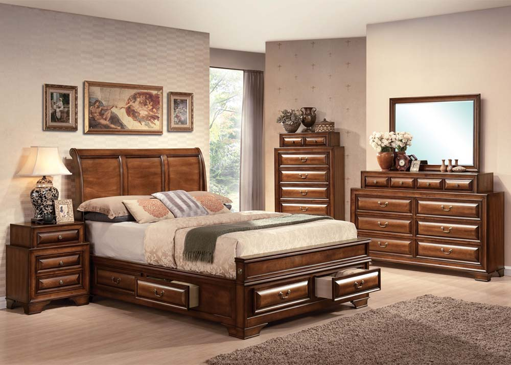 Acme Konane Sleigh Bedroom Set with Underbed Storage in Brown Cherry