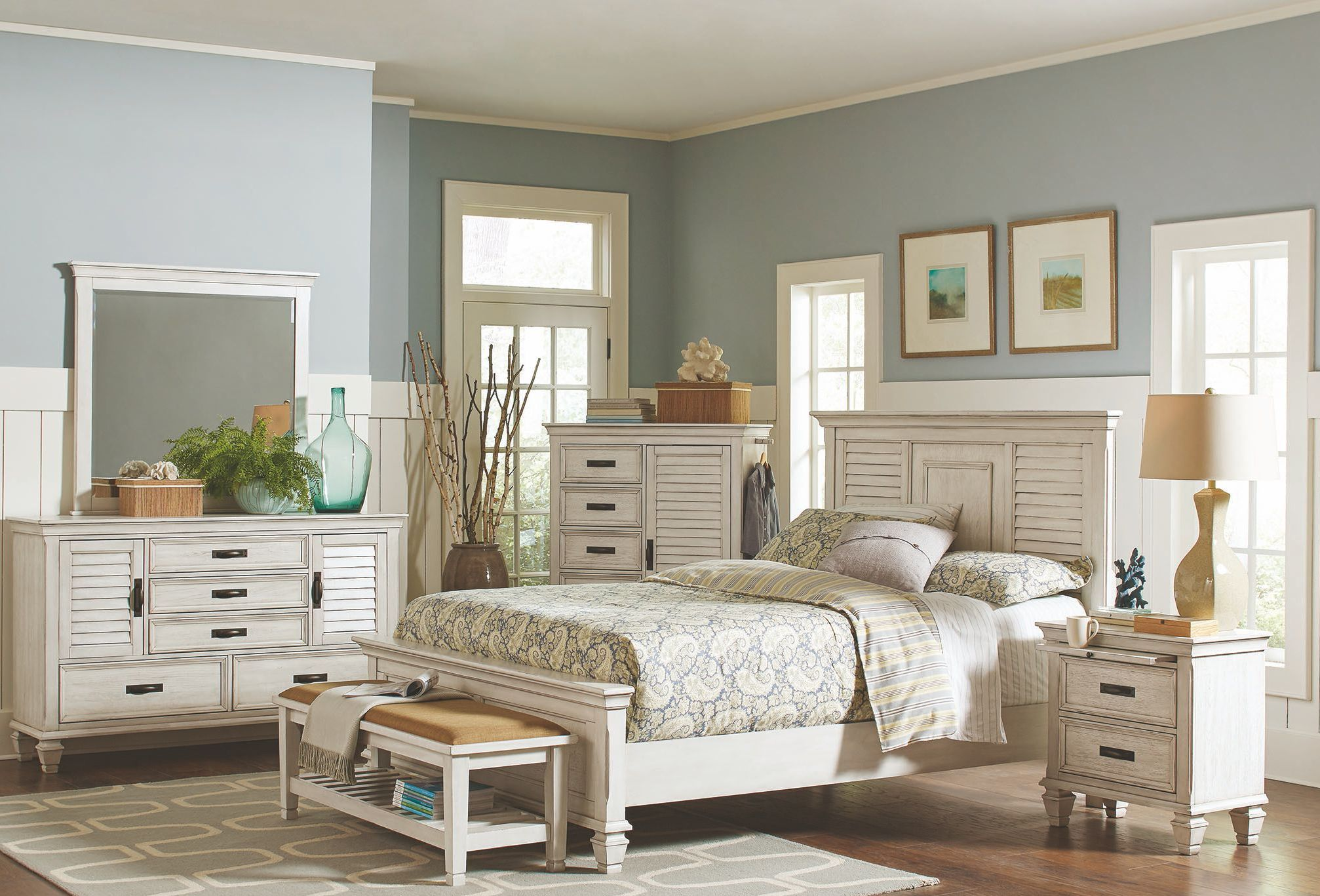 Liza antique white panel bedroom set 1stopbedrooms - White vintage bedroom furniture sets ...