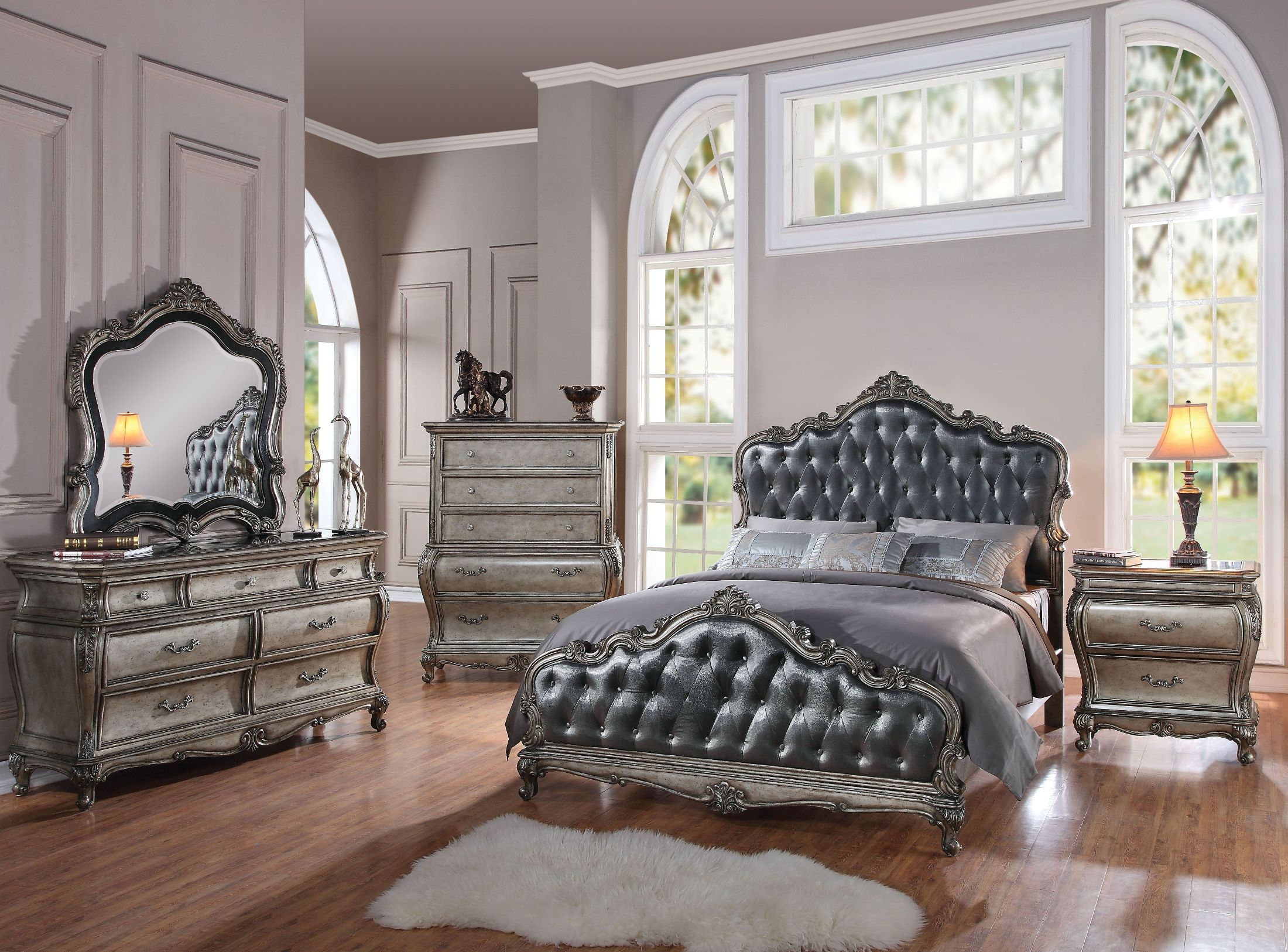 Grey Vintage Bedroom: ACME Chantelle Silver Gray And Antique Platinum Panel