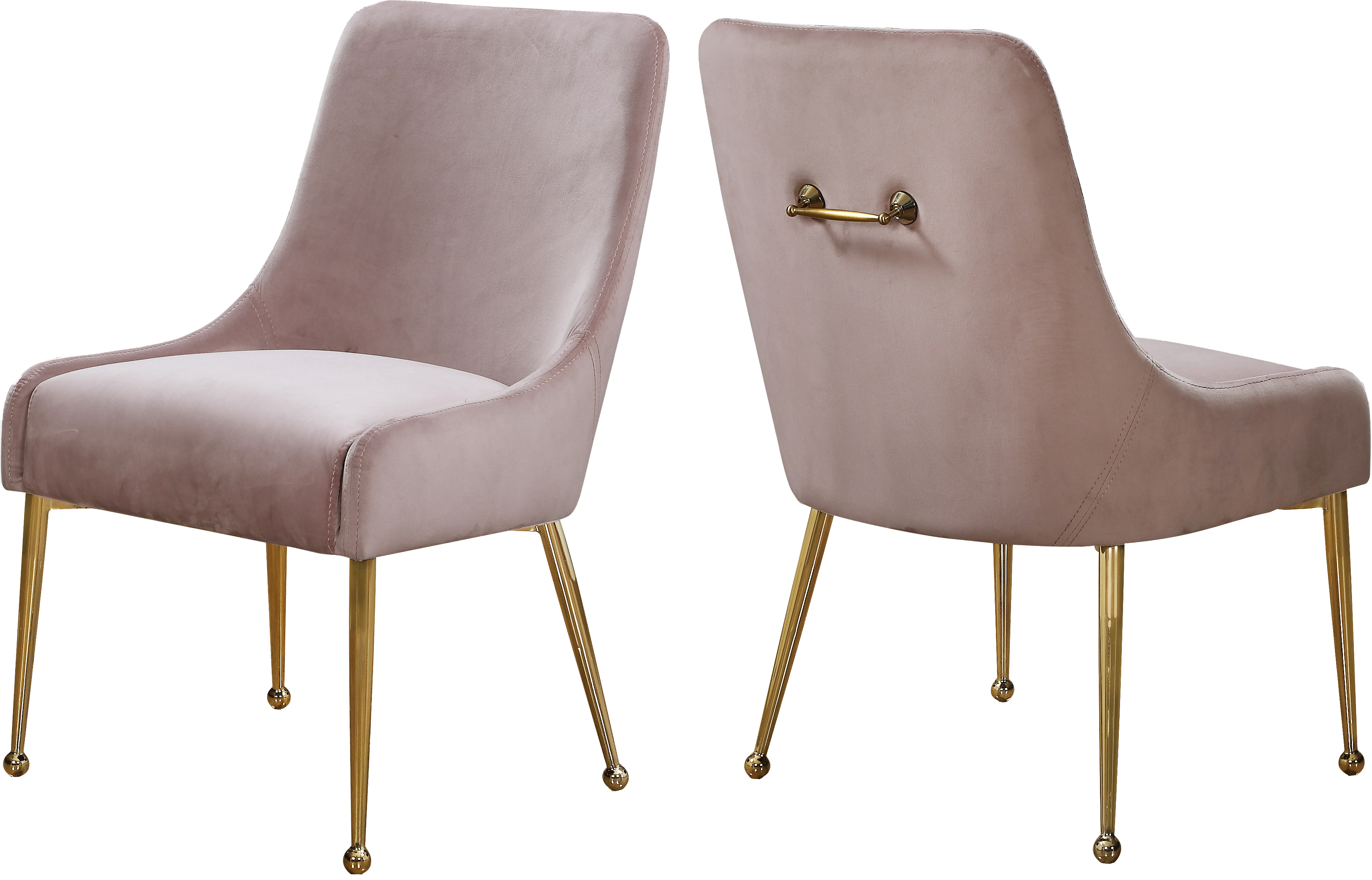 Meridian Owen Pink Velvet Dining Chair Set Of 2
