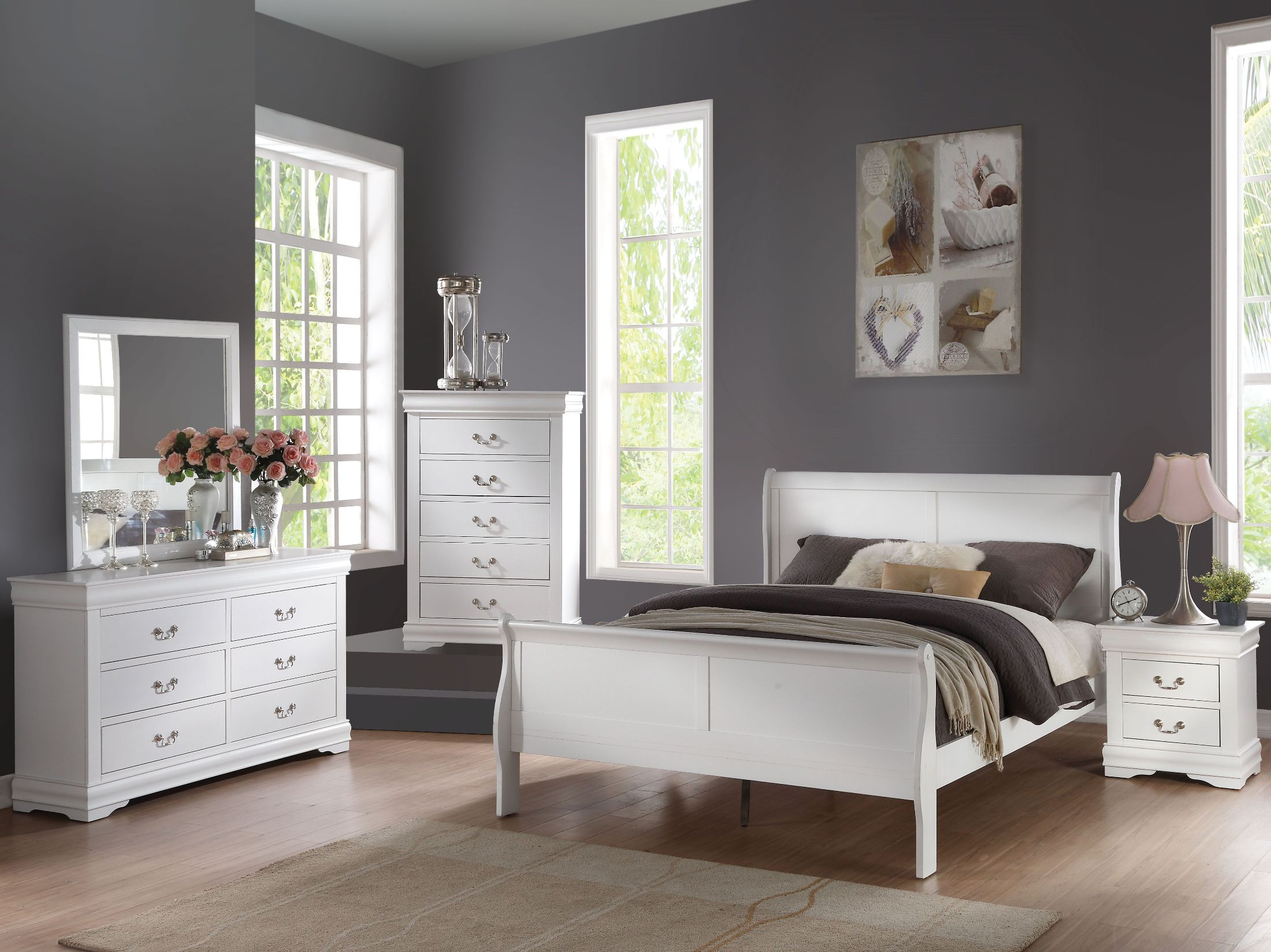 Acme louis philippe white sleigh bedroom set louis - Louis philippe bedroom collection ...