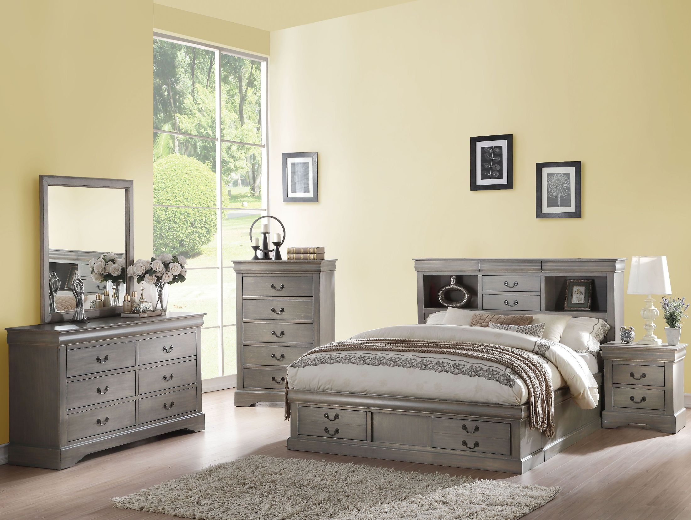 Acme louis philippe iii antique gray bookcase storage - Louis philippe bedroom collection ...