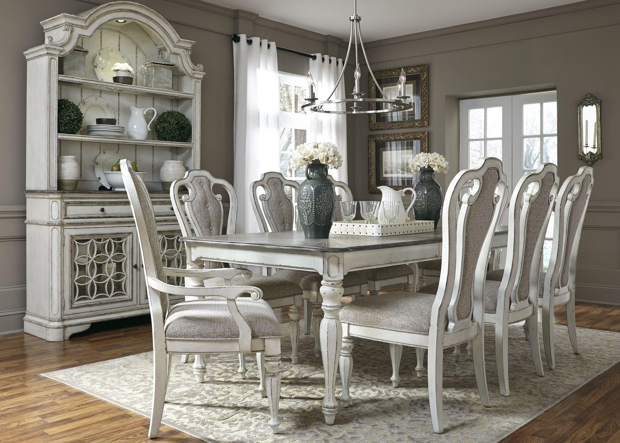 Magnolia Manor Antique White Extendable Rectangular Leg Dining Room Set