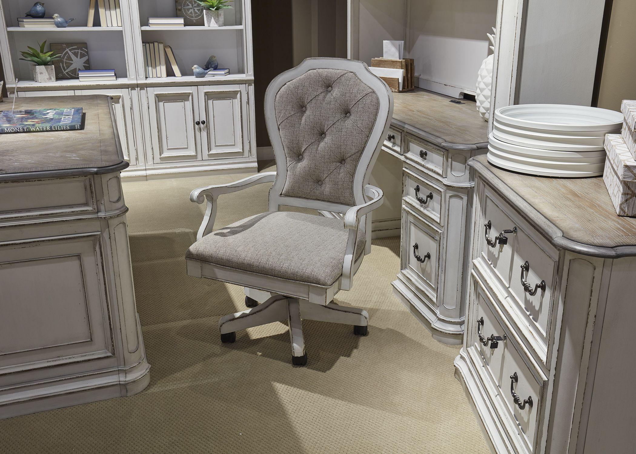 Magnolia Manor Antique White Jr Executive Desk ChairMedia Image