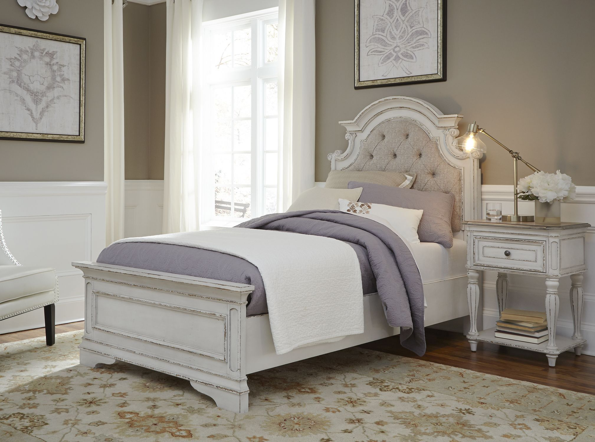 Magnolia Manor Antique White Youth Upholstered Panel Bedroom Set