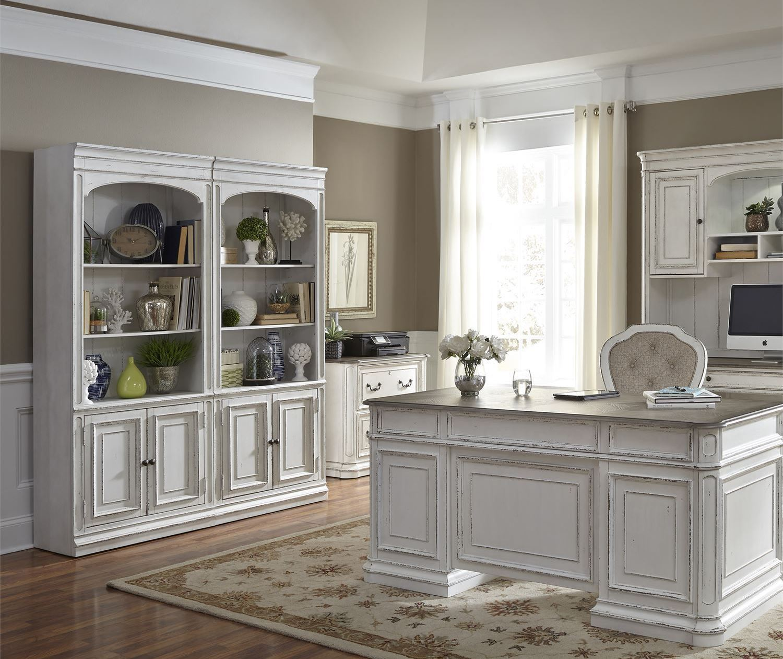 Magnolia Manor Antique White Jr Executive Home Office SetMedia Image