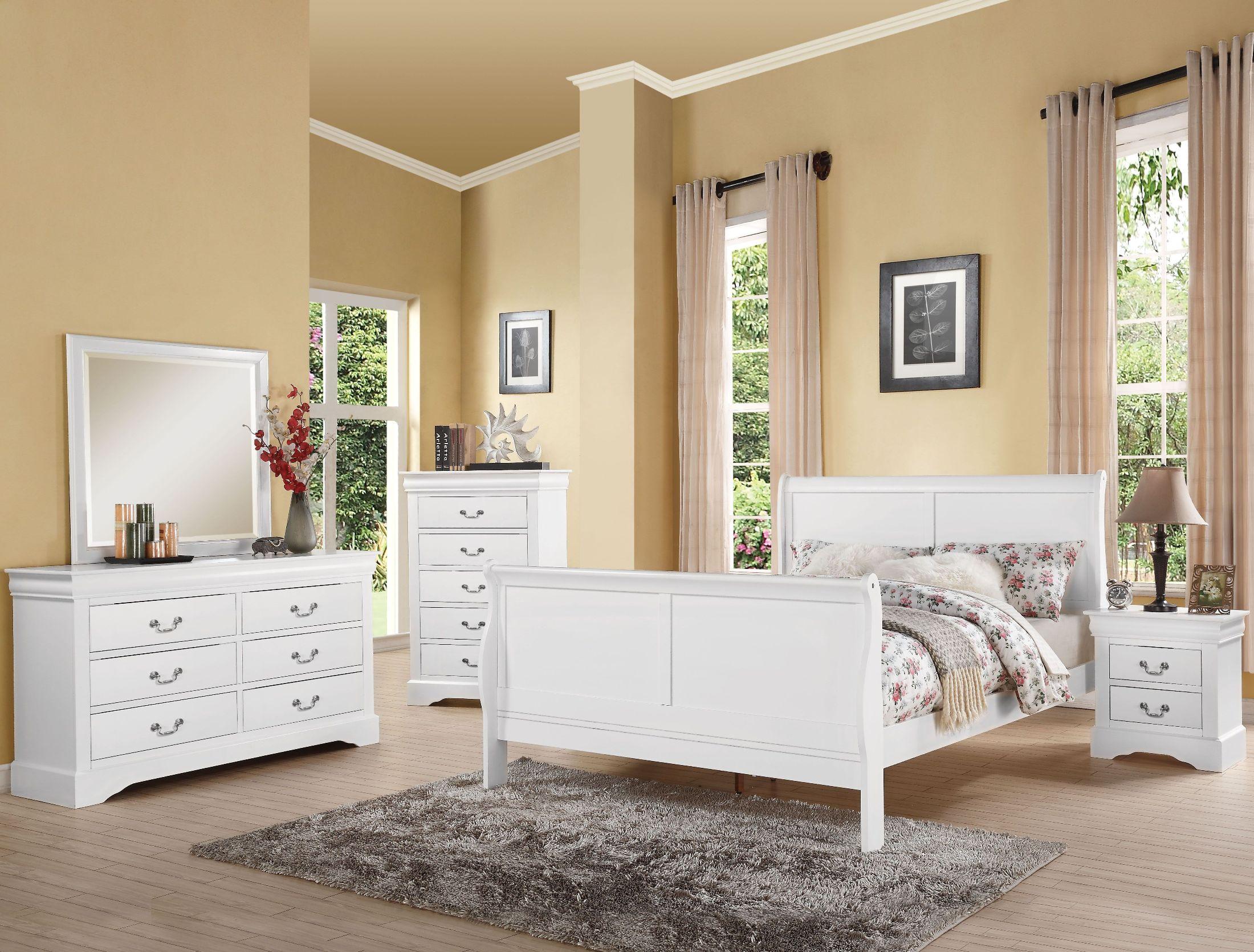 Acme louis philippe iii white sleigh bedroom set louis - Louis philippe bedroom collection ...