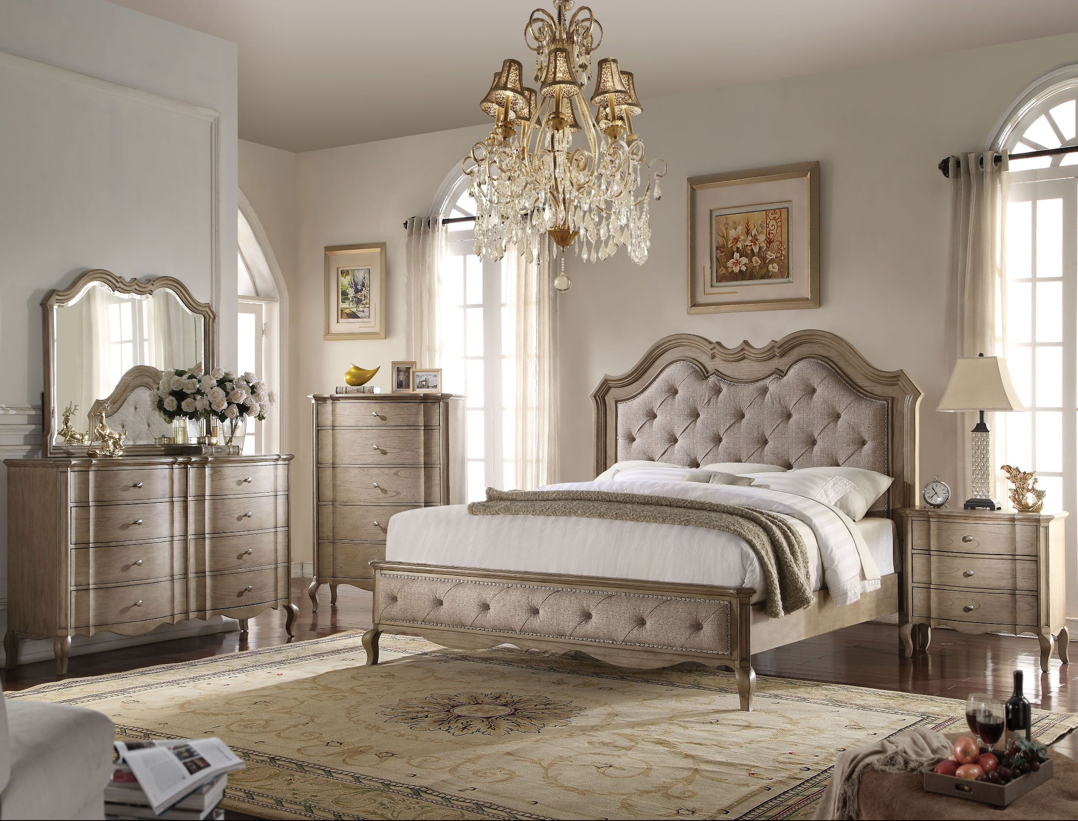Acme Chelmsford Beige And Antique Taupe Bedroom Set Chelmsford