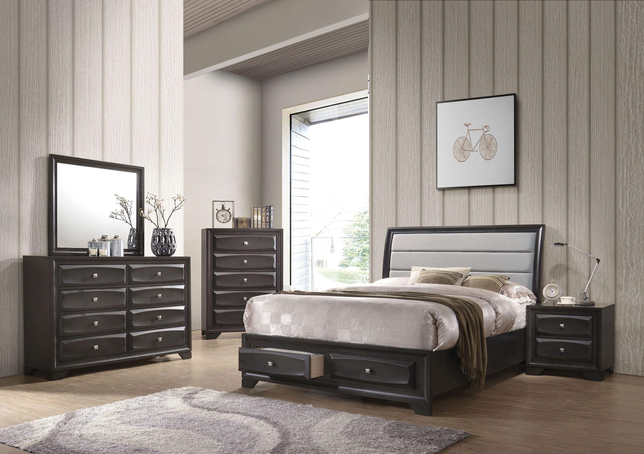 Grey Vintage Bedroom: ACME Soteris Antique Gray Sleigh Storage Bedroom Set