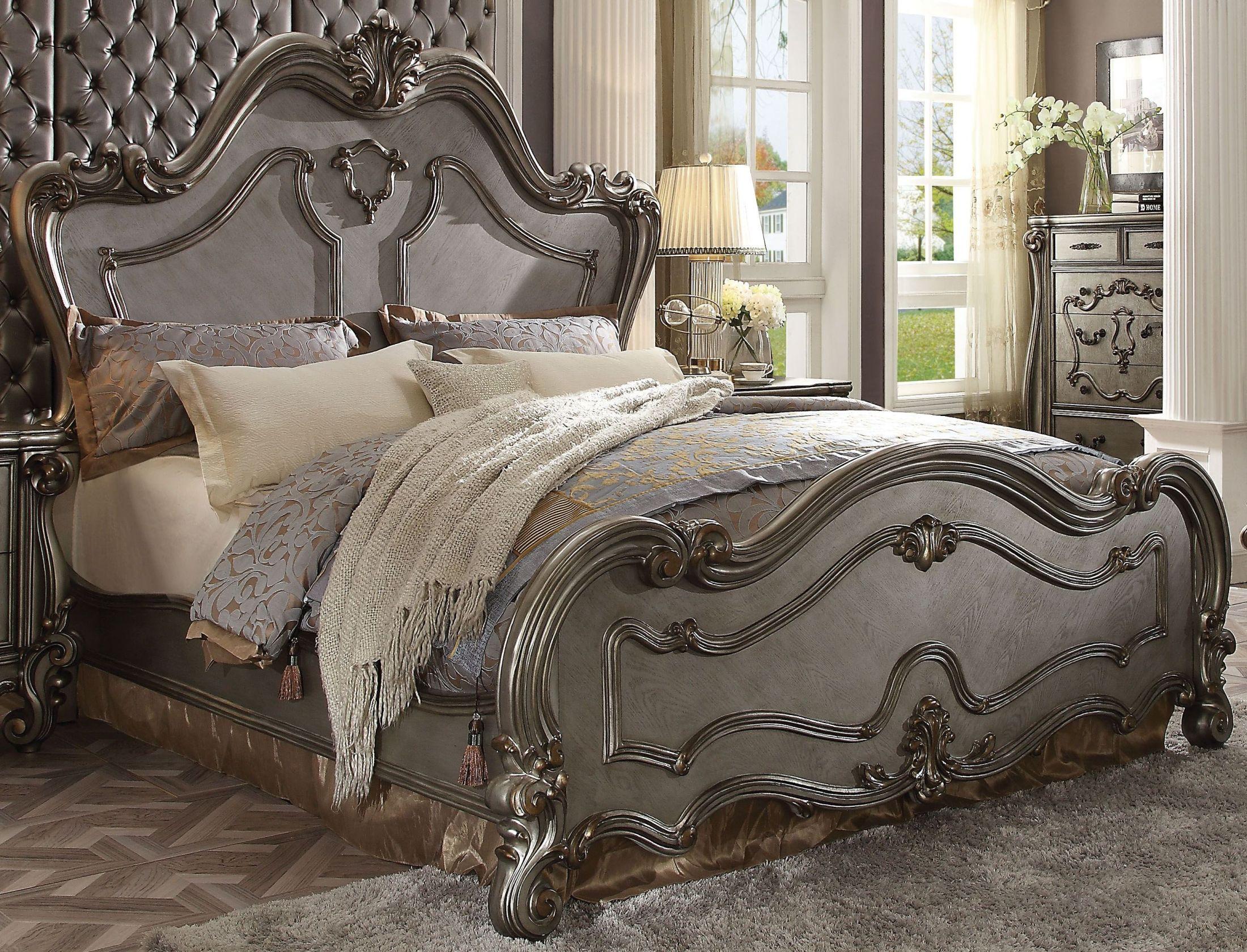 Acme versailles antique platinum queen panel bed - New classic versailles bedroom set ...