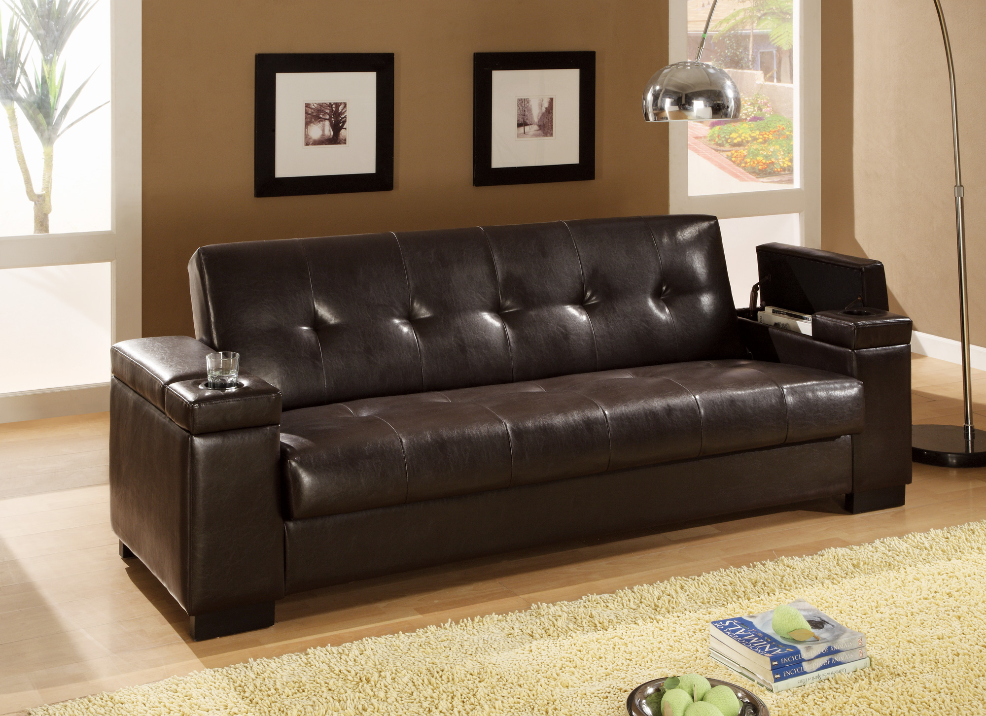 Faux Leather Convertible Sofa Sleeper With Storage 300143 ...