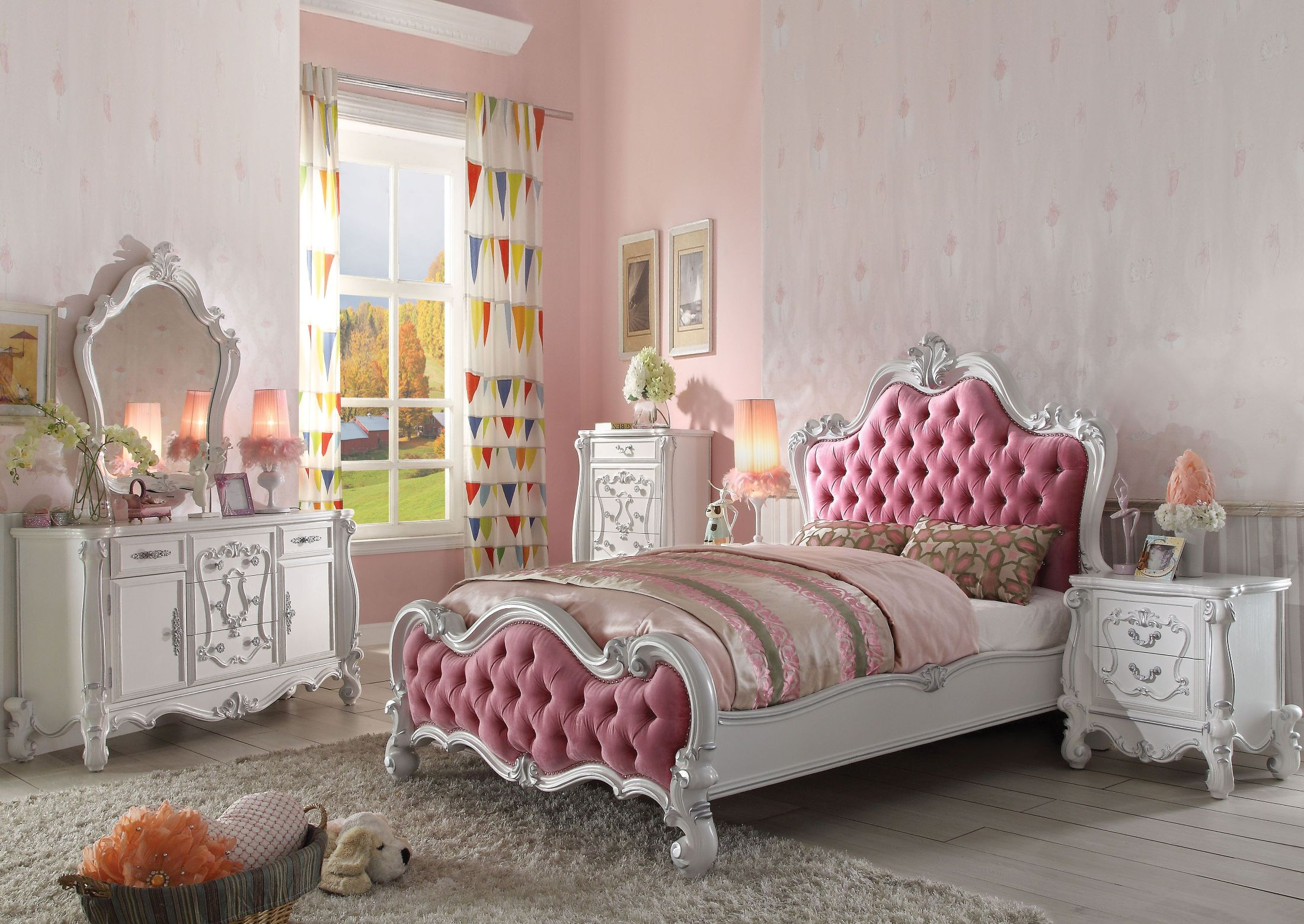 excellent pink bedroom set furniture   ACME Versailles Pink and Antique White Upholstered Panel ...