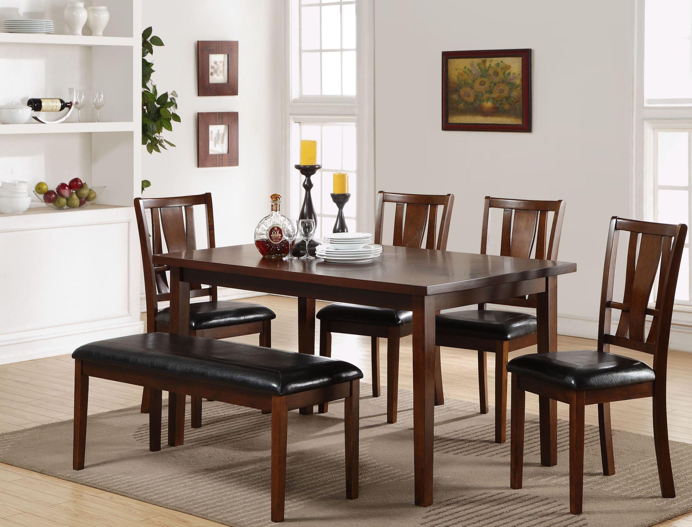 6 Pcs Dixon Dark Espresso Dining Room Set 1stopbedrooms