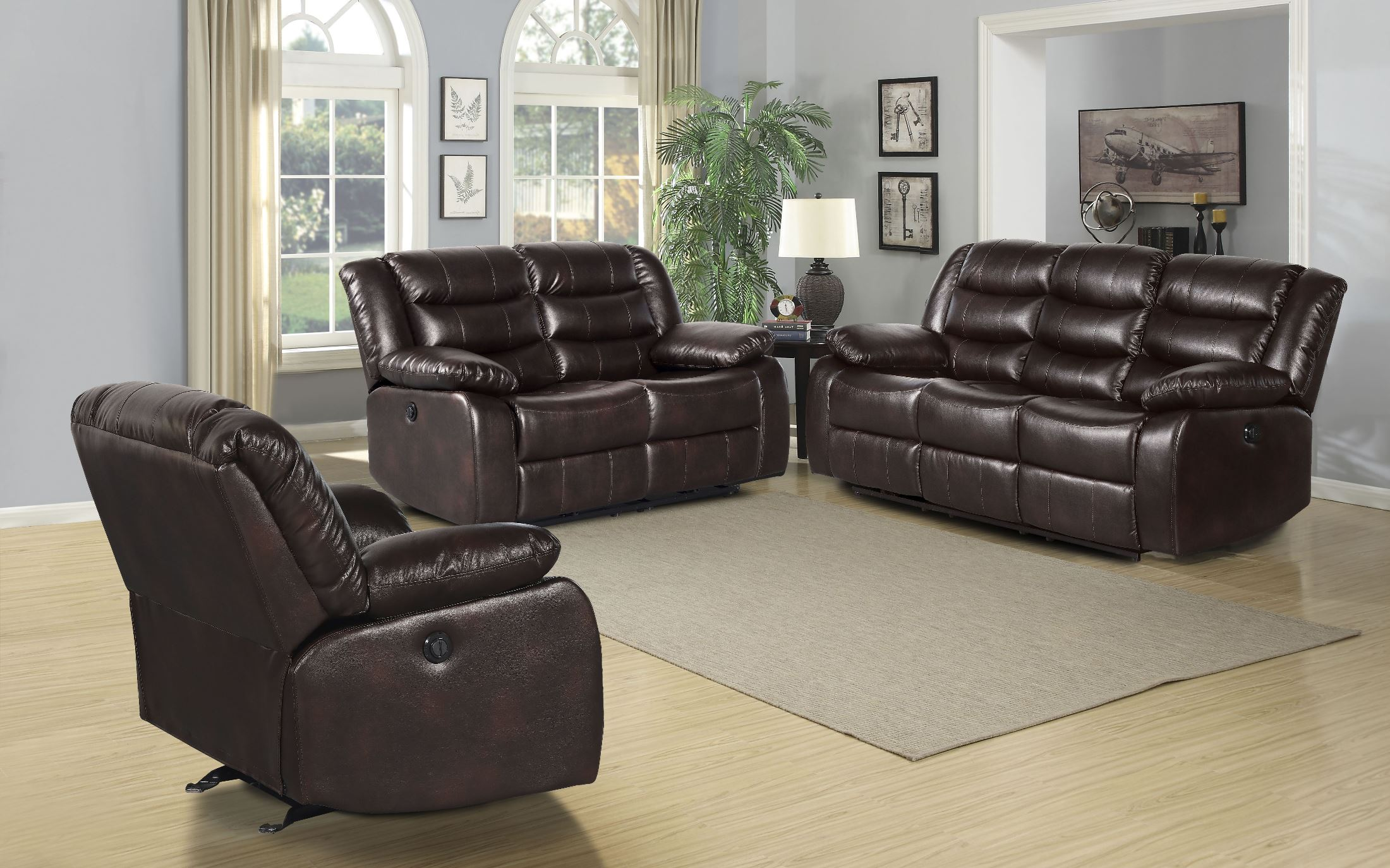 Leather Furniture Traveler Collection: Standard Furniture Bennet Brown Faux Leather Living Room