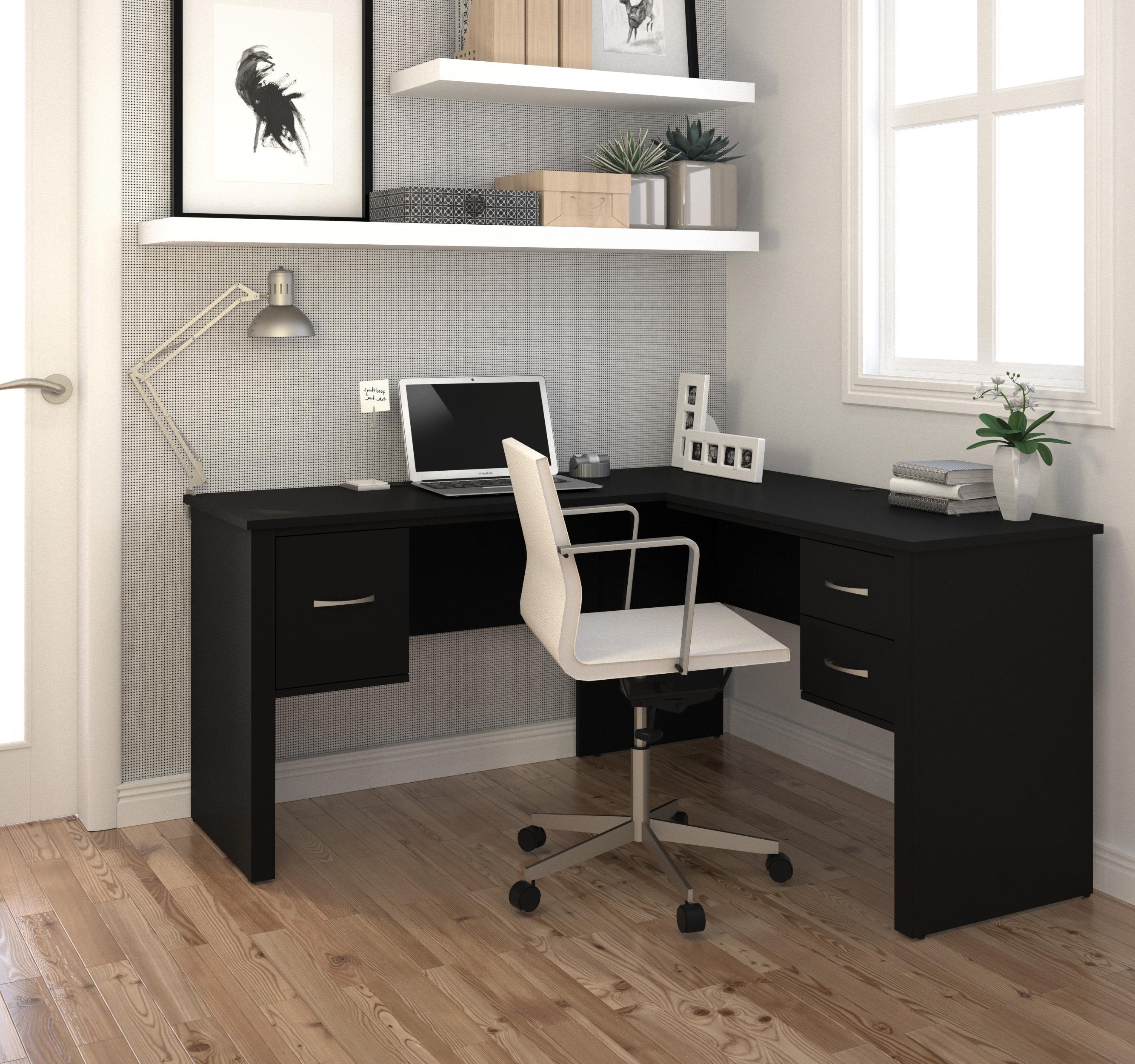 bestar somerville black l shaped desk somerville collection 5 reviews. Black Bedroom Furniture Sets. Home Design Ideas