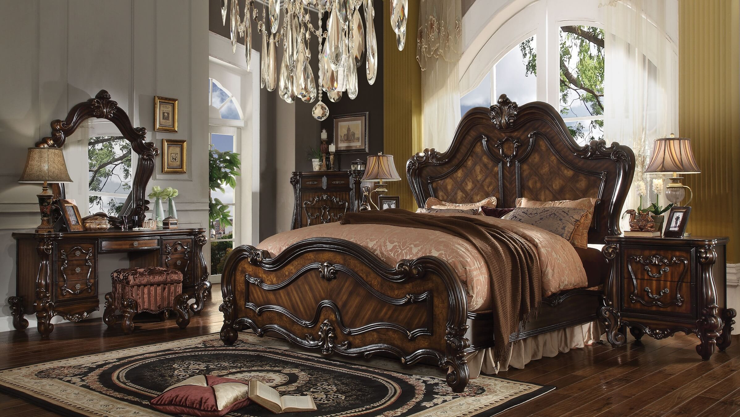 Acme Versailles Bedroom Set in Cherry Oak - 1StopBedrooms.