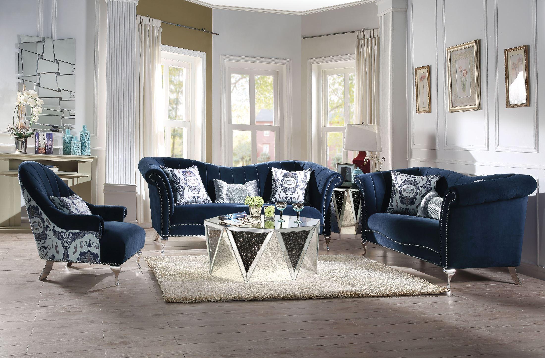 Jaborosa Blue Velvet Living Room Set - 1StopBedrooms.