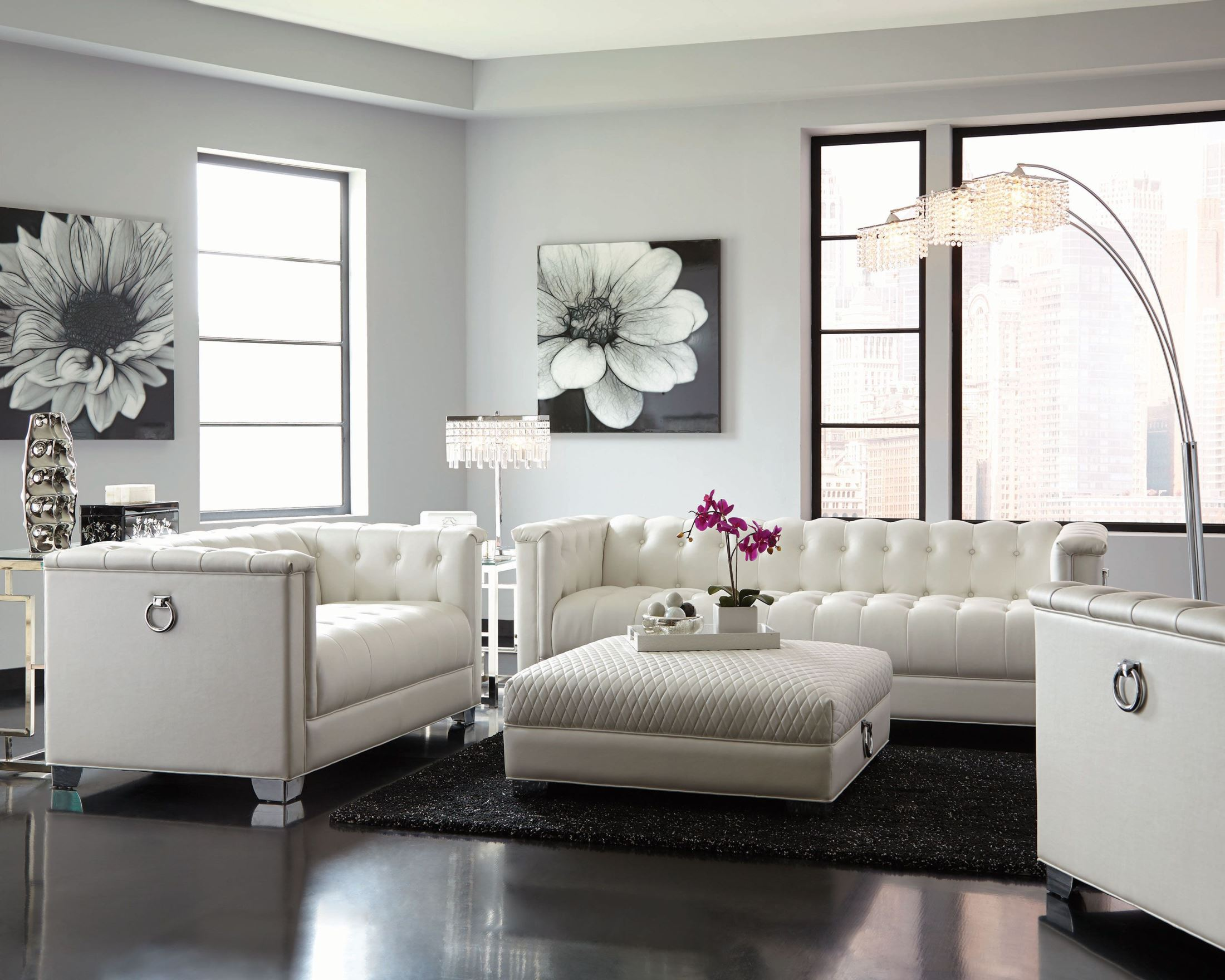 Chaviano Pearl White Living Room Set