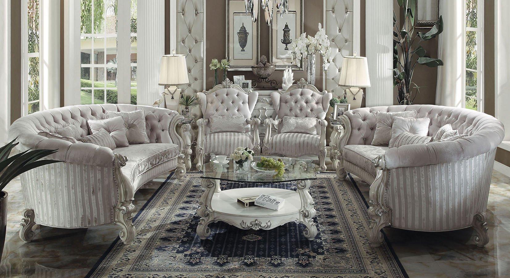 Acme Versailles Crescent Living Room Set Ivory Velvet