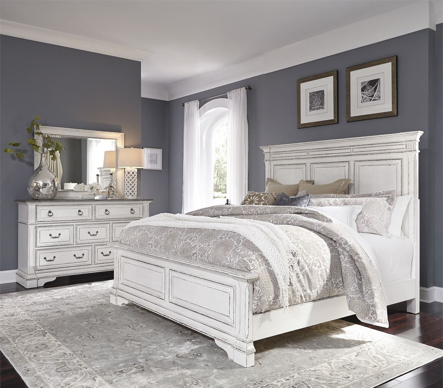 Liberty abbey park antique white panel bedroom set abbey - White vintage bedroom furniture sets ...