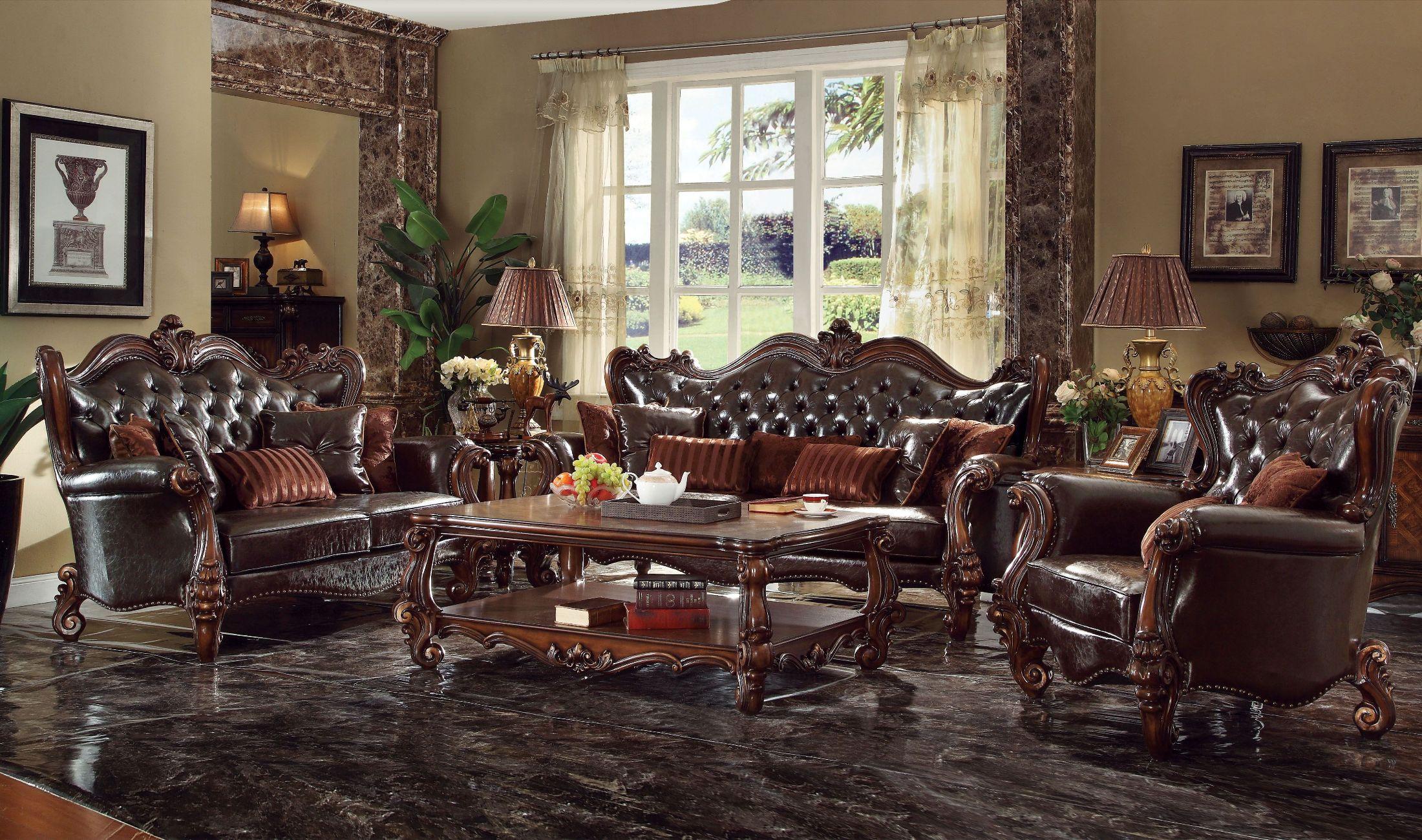ACME Versailles 2-Tone Dark Brown Cherry Oak Living Room