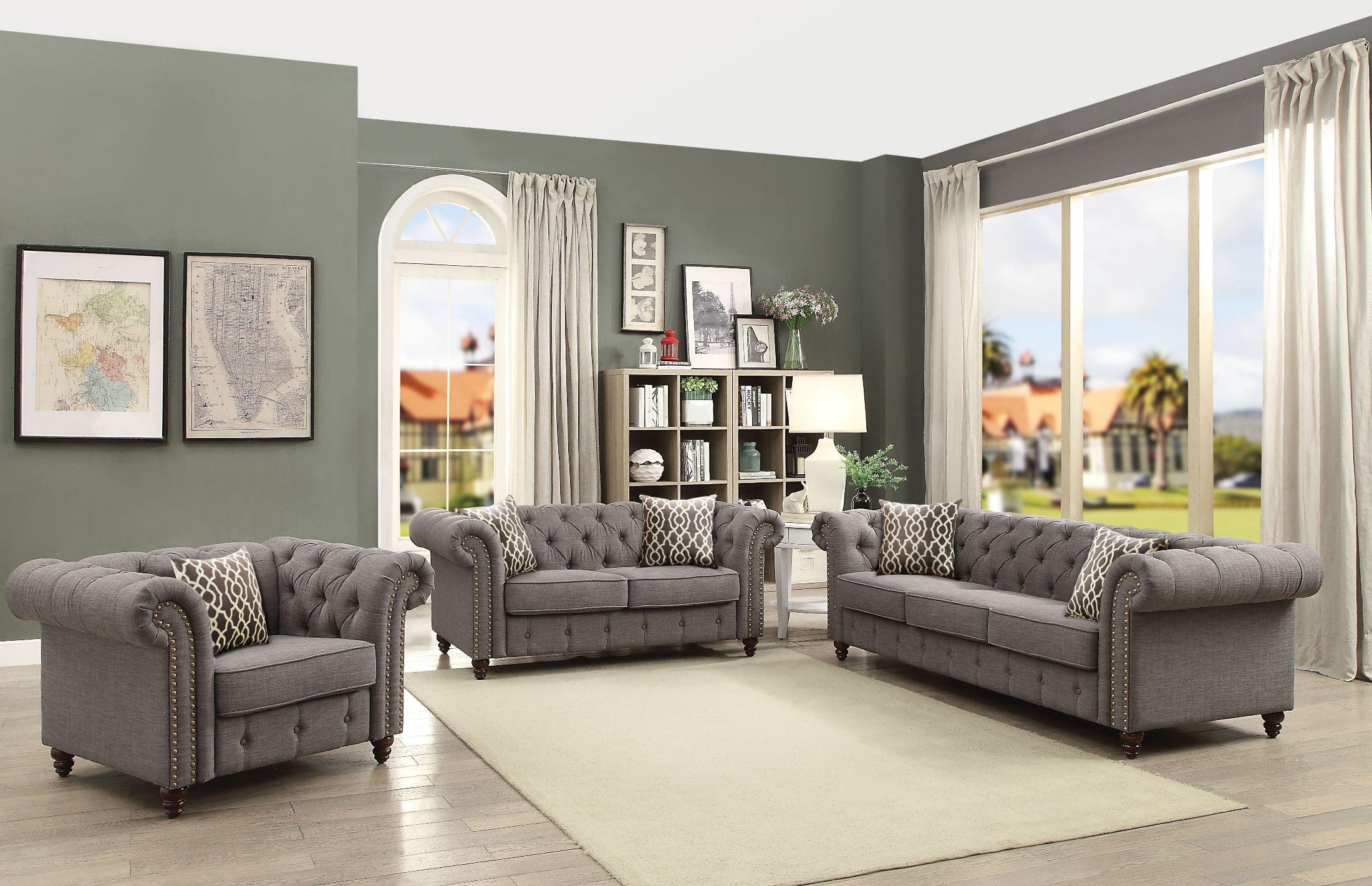 Aurelia Gray Linen Living Room Set - 1StopBedrooms.