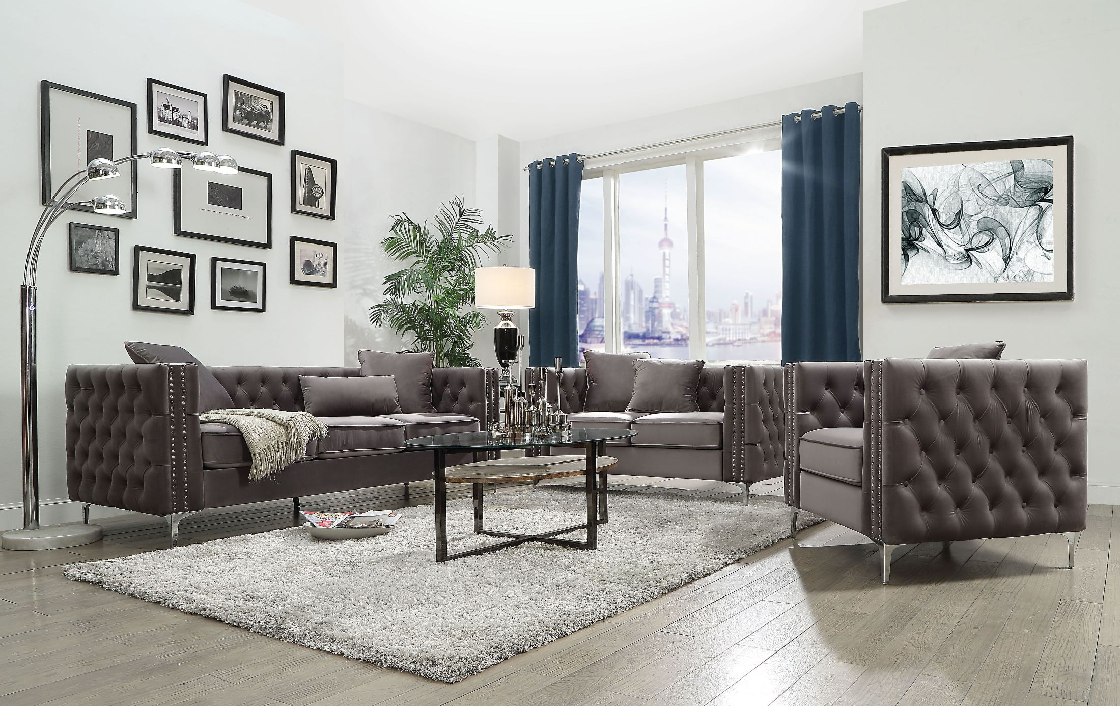 Acme Gillian Ii Dark Gray Velvet Living Room Set Gillian