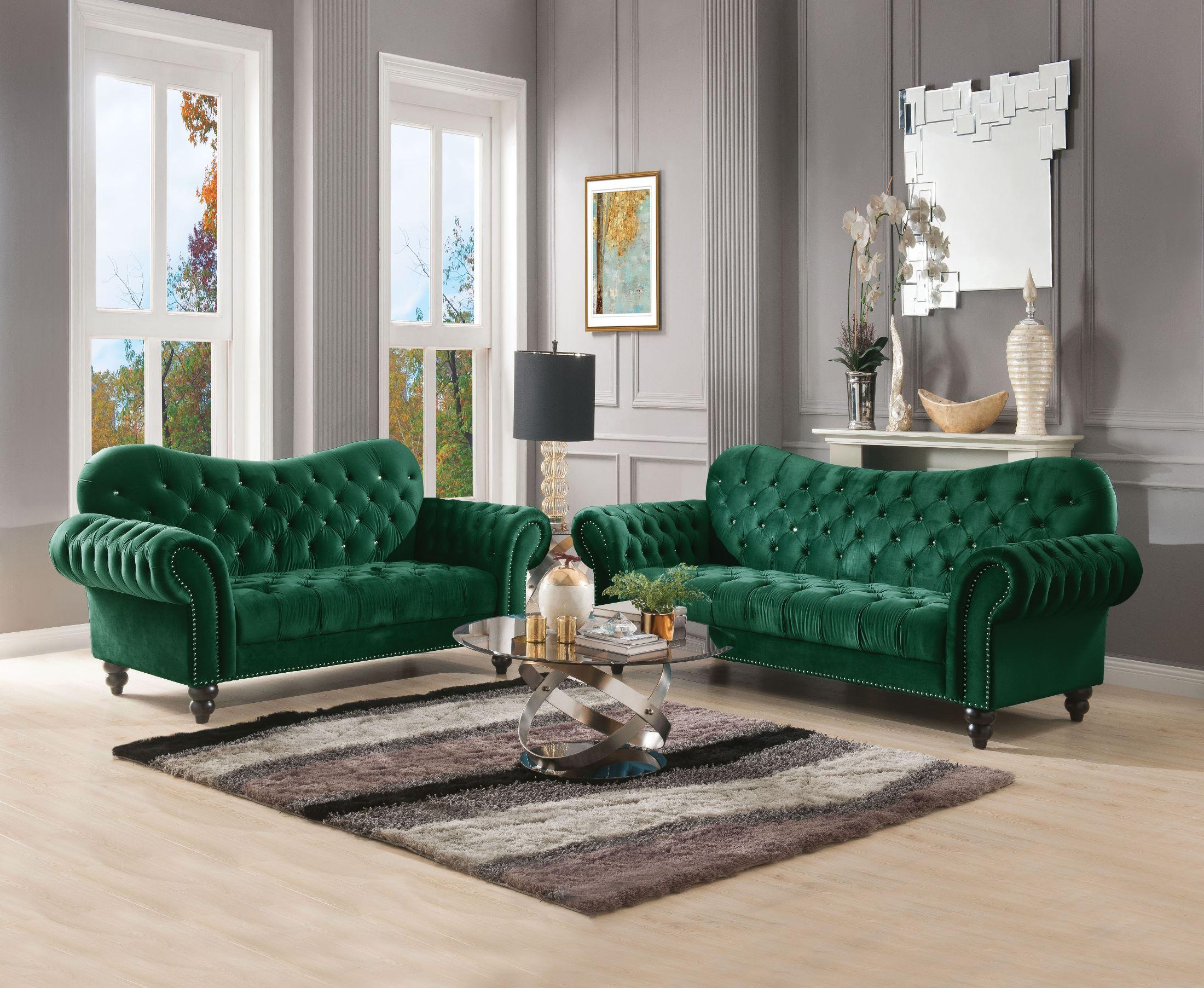 Acme Iberis Green Velvet Living Room Set Iberis Collection 5