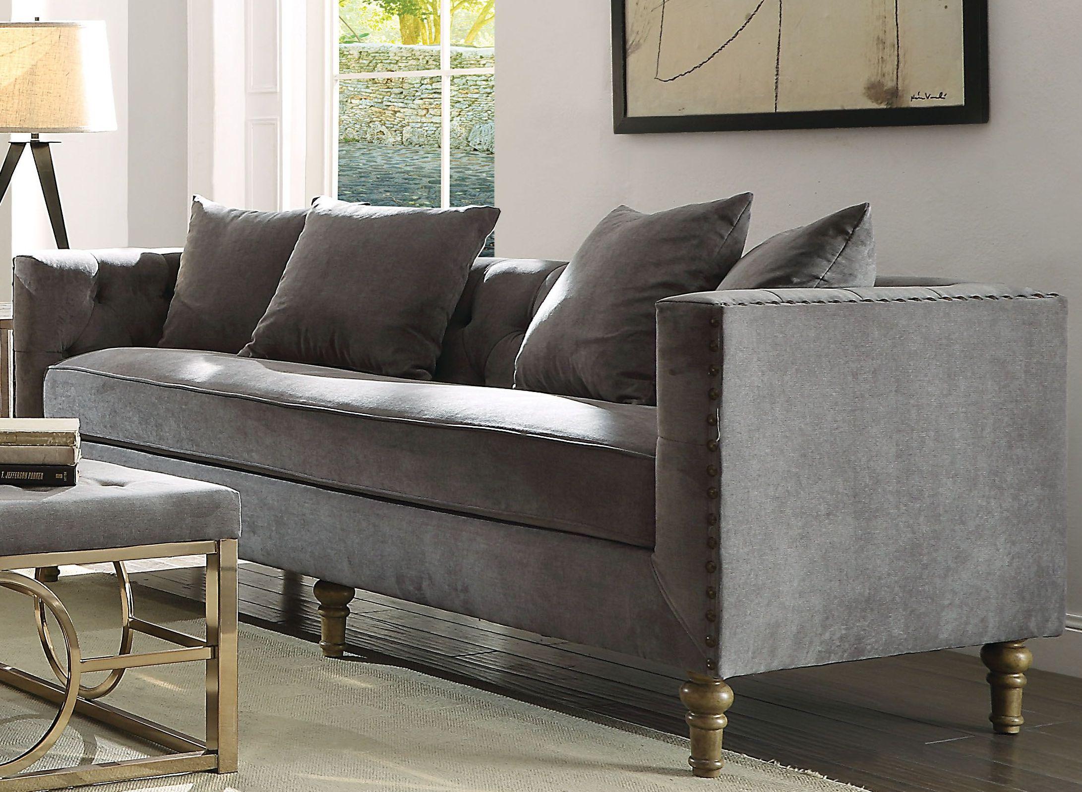 Sidonia gray velvet sofamedia image