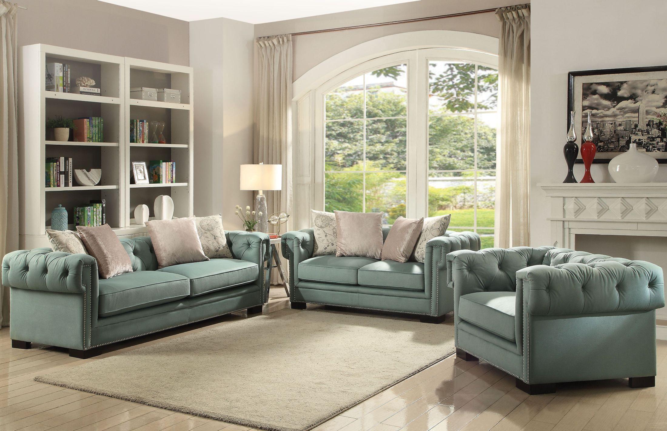 ACME Eulalia Polished Velvet Living Room Set - Eulalia ...