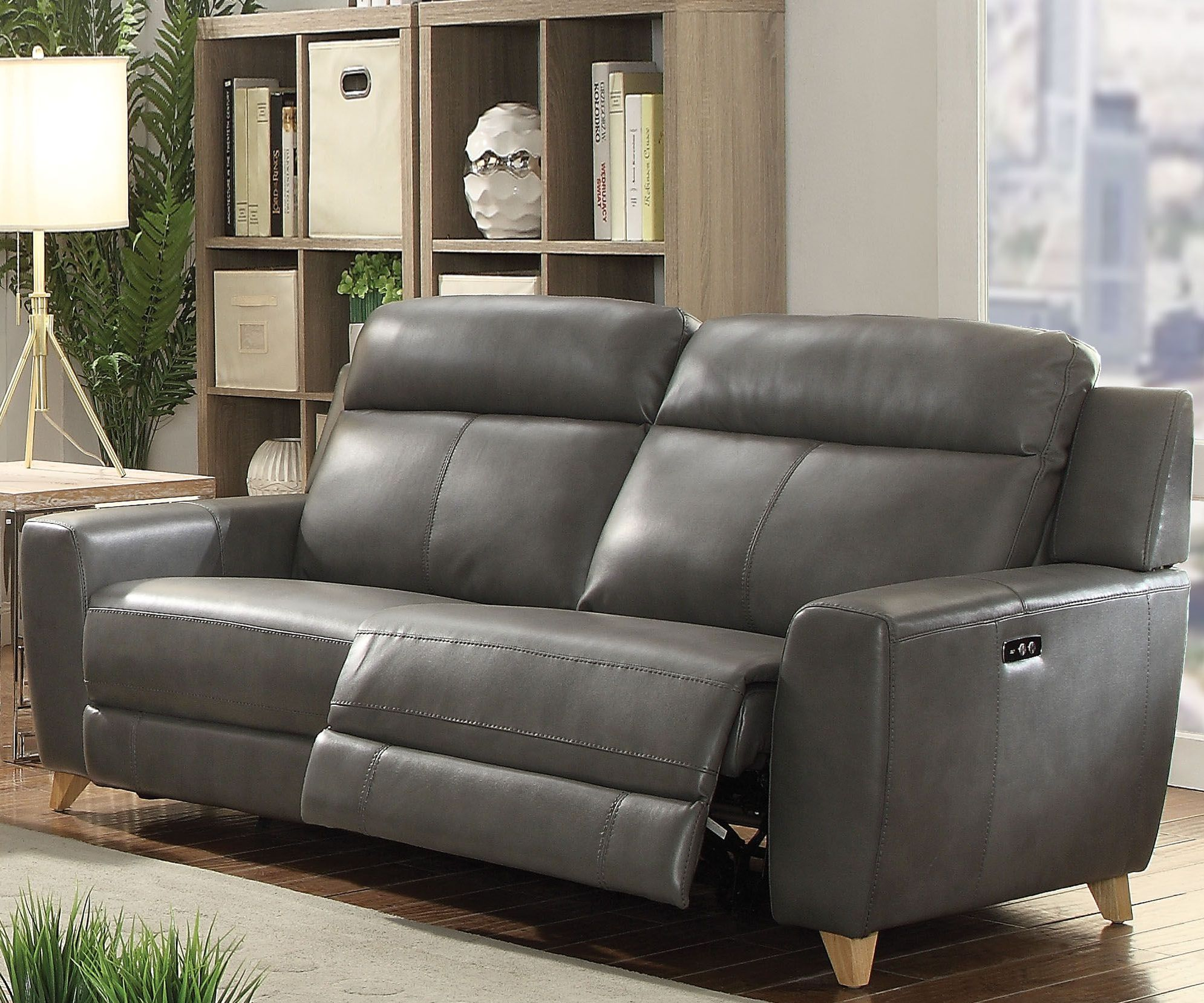 Acme Cayden Gray Leather Aire Match Power Reclining Sofa Cayden